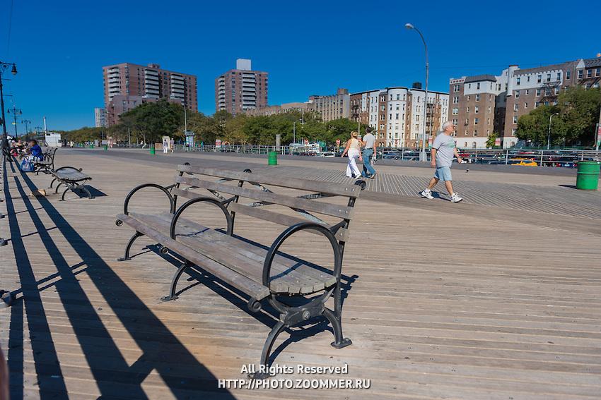 Ocean front boardwalk in Brighton beach, Brooklyn, New York