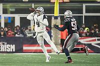 FOXBOROUGH, MA - NOVEMBER 24: Dallas Cowboys Quarterback Dak Prescott #4 passes nuder pressure from New England Patriots Linebacker Jamie Collins #58 during a game between Dallas Cowboys and New England Patriots at Gillettes on November 24, 2019 in Foxborough, Massachusetts.