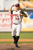 Starting pitcher Matt Klinker #33 of the Carolina Mudcats in action against the Jacksonville Suns at Five County Stadium May 15, 2010, in Zebulon, North Carolina.  Photo by Brian Westerholt /  Seam Images