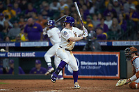 Daniel Cabrera (8) of the LSU Tigers at bat against the Texas Longhorns in game three of the 2020 Shriners Hospitals for Children College Classic at Minute Maid Park on February 28, 2020 in Houston, Texas. The Tigers defeated the Longhorns 4-3. (Brian Westerholt/Four Seam Images)