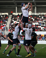 SCHOOLS CUP FINAL<br /> Monday 17th March 2014<br /> <br /> Alex Livingstone secures this lineout ball for MCB during the Ulster Schools Cup final between MCB and Sullivan Upper School at Ravenhill Stadium, Belfast.<br /> <br /> Mandatory Image Credit - Photo by JOHN DICKSON - DICKSONDIGITAL