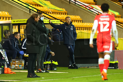 3rd November 2020; Carrow Road, Norwich, Norfolk, England, English Football League Championship Football, Norwich versus Millwall; Millwall Manager Gary Rowett smiles at Norwich City Manager Daniel Farke