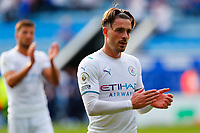11th September 2021; King Power Stadium, Leicester, Leicestershire, England;  Premier League Football, Leicester City versus Manchester City; Jack Grealish of Manchester City applauds his team's travelling supporters after the final whistle