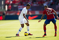 CARSON, CA - FEBRUARY 1: Reggie Cannon #2 of the United States advances with the ball while Ronald Matarrita #22 of Costa Rica defends during a game between Costa Rica and USMNT at Dignity Health Sports Park on February 1, 2020 in Carson, California.