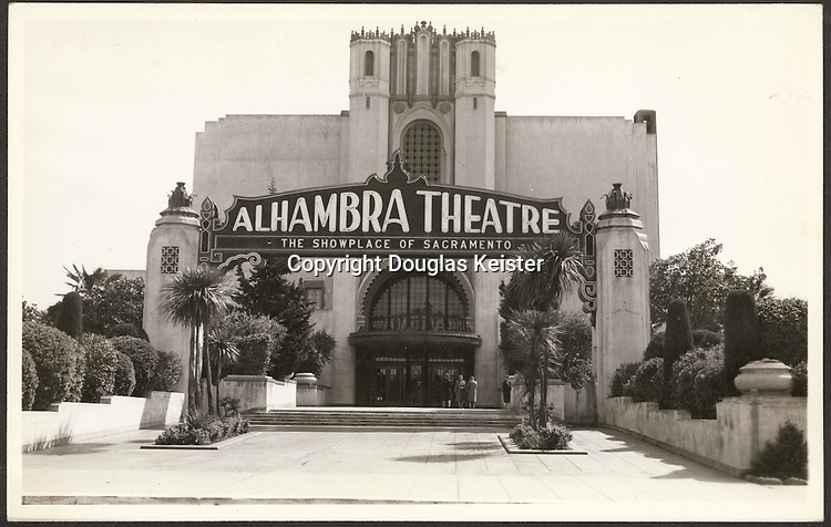 """The Alhambra Theatre, """"The Showplace of Sacramento"""", was a rarity among urban movie theaters; in addition to its spectacular Moorish-themed design, it was graced by lush gardens inspired by its fourteenth-century namesake in Granada, Spain.  The twentieth-century Alhambra, designed by architect Leonard Starks, was completed in 1927 and seated nearly four thousand in luxury.  Universal Studios cannily premiered its 1936 clunker, """"Sutter's Gold"""", at the Alhambra, the discovery of gold in California having occurred in nearby Coloma;  the event was attended by the film's stars, Edward Arnold and Lee Tracy, who arrived in Sacramento amid great fanfare.  Alas, the Alhambra's fate was not a happy one; despite a vigorous battle for its preservation, the theater was demolished in 1972 and its site used for parking."""