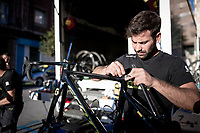 Team Mitchelton-Scott mechanics at work<br /> <br /> Stage 15: Tineo to Santuario del Acebo (154km)<br /> La Vuelta 2019<br /> <br /> ©kramon