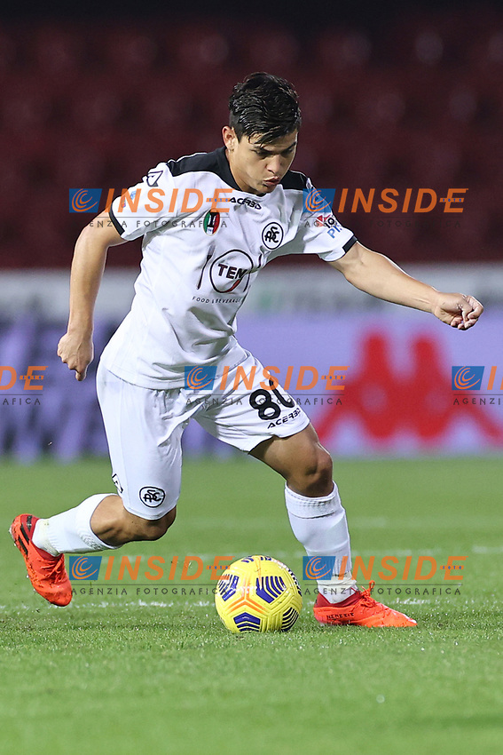 Kevin Agudelo of Spezia Calcio<br /> during the Serie A football match between Benevento Calcio and Spezia Calcio at stadio Ciro Vigorito in Benevento (Italy), November 7th, 2020. <br /> Photo Cesare Purini / Insidefoto