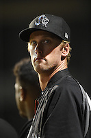 Jupiter Hammerheads athletic trainer Ben Cates in the dugout during a game against the Bradenton Marauders on April 18, 2015 at McKechnie Field in Bradenton, Florida.  Bradenton defeated Jupiter 4-1.  (Mike Janes/Four Seam Images)