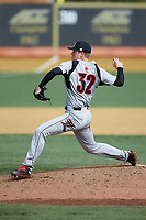 Louisville Cardinals starting pitcher Riley Thompson (32) in action against the Wake Forest Demon Deacons at David F. Couch Ballpark on March 18, 2018 in  Winston-Salem, North Carolina.  The Demon Deacons defeated the Cardinals 6-3.  (Brian Westerholt/Four Seam Images)