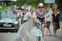 Andy Schleck (LUX) warming up for the TT<br /> <br /> Tour de France 2013<br /> stage 17: ITT Embrun - Chorges 32km