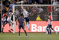 LA Galaxy goalkeeper Steve Cronin (1) pushes a ball over the crossbar during the Super Clasico. The LA Galaxy defeated Chivas USA 5-2 during the SuperClasico at the Home Depot Center Stadium, in Carson, California, Saturday, April 26, 2008.