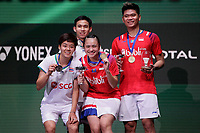15th March 2020, Arena Birmingham, Birmingham, UK;  Indonesias Praveen Jordan and Melati Daeva Oktavianti  pose during the trophy ceremony for the mixed doubles final match with Thailands Dechapol Puavaranukroh and Sapsiree Taerattanachai at All England Badminton 2020 in Birmingham