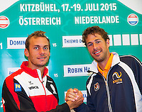 Austria, Kitzbuhel, Juli 16, 2015, Tennis, Davis Cup, Draw, Second match on friday Andreas Haider-Mourer (AUT) vs Robin Haase (NED)<br /> Photo: Tennisimages/Henk Koster