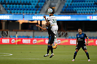 SAN JOSE, CA - SEPTEMBER 16: Eryk Williamson #30 of the Portland Timbers goes up for a header with Judson #93 of the San Jose Earthquakes during a game between Portland Timbers and San Jose Earthquakes at Earthquakes Stadium on September 16, 2020 in San Jose, California.