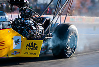 Oct 18, 2019; Ennis, TX, USA; NHRA top fuel driver Richie Crampton during qualifying for the Fall Nationals at the Texas Motorplex. Mandatory Credit: Mark J. Rebilas-USA TODAY Sports