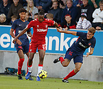 08.08.2019 FC Midtjylland v Rangers: Joe Aribo with Jens-Lys Cajuste and Alexander Scholz
