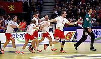 Denmark handball team players celebrate victory in men`s EHF EURO 2012 championship semifinal handball game against Spain in Belgrade, Serbia, Friday, January 27, 2011.  (photo: Pedja Milosavljevic / thepedja@gmail.com / +381641260959) Henrik Toft Hansen, Lars Christiansen, Niklas Landin Jacobsen