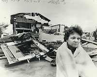 1979 FILE PHOTO - ARCHIVES -<br /> <br /> Mrs. Flossie Tanner and the gutted shell of her store and home in Oxford Centre.<br /> <br /> Bezant, Graham<br /> Picture, 1979<br /> <br /> 1979,<br /> <br /> PHOTO : Graham Bezant - Toronto Star Archives - AQP