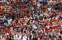 Calcio, Serie A: Roma vs Juventus. Roma, stadio Olimpico, 30 agosto 2015.<br /> Roma fans wait for the start of the Italian Serie A football match between Roma and Juventus at Rome's Olympic stadium, 30 August 2015.<br /> UPDATE IMAGES PRESS/Riccardo De Luca