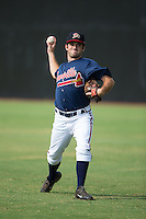 Danville Braves pitcher Cameron Stanton (32) warms up in the outfield prior to the game against the Pulaski Yankees at American Legion Post 325 Field on July 31, 2016 in Danville, Virginia.  The Yankees defeated the Braves 8-3.  (Brian Westerholt/Four Seam Images)