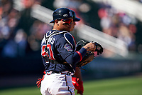 Atlanta Braves William Contreras (60) during a Major League Spring Training game against the Boston Red Sox on March 7, 2021 at CoolToday Park in North Port, Florida.  (Mike Janes/Four Seam Images)