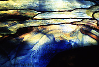 """Utopia:  Tiffany glass--""""Autumn Landscape"""",  detail. Made especially for Metropolitan Museum's American Wing opening, 1924.  Tiffany Studios, N.Y. 1923."""