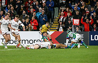 Friday 8th October 2021<br /> <br /> Nathan Doak scores during the URC Round 3 clash between Ulster Rugby and Benetton Rugby at Kingspan Stadium, Ravenhill Park, Belfast, Northern Ireland. Photo by John Dickson/Dicksondigital