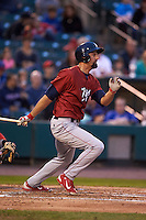 Lehigh Valley IronPigs outfielder Jordan Danks (33) at bat during a game against the Rochester Red Wings on May 15, 2015 at Frontier Field in Rochester, New York.  Rochester defeated Lehigh Valley 5-4.  (Mike Janes/Four Seam Images)