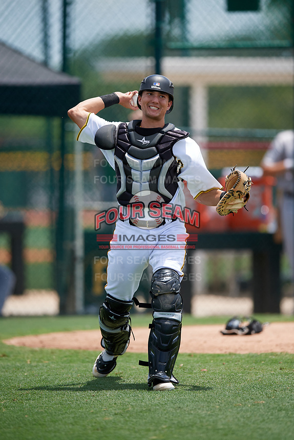 GCL Pirates catcher Ryan Haug (43) throws to first base during a game against the GCL Tigers West on August 13, 2018 at Pirate City Complex in Bradenton, Florida.  GCL Tigers West defeated GCL Pirates 5-1.  (Mike Janes/Four Seam Images)