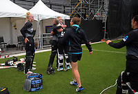 NZ's Jess Kerr congratulates Maddy Green for scoring the winning runs during the 2nd international women's T20 cricket match between the New Zealand White Ferns and Australia at McLean Park in Napier, New Zealand on Tuesday, 30 March 2021. Photo: Dave Lintott / lintottphoto.co.nz