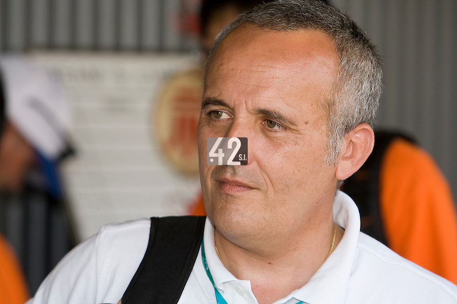 23 August 2007: French Federation of Baseball and Softball Eric-Pierre Dufour is seen in the dugout after the France 8-4 victory over Czech Republic in the Good Luck Beijing International baseball tournament (olympic test event) at the Wukesong Baseball Field in Beijing, China.