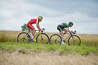 early escape duo of the day: Thomas Voeckler (FRA/Europcar) & Luis Angel Mate (ESP/Cofidis)<br /> <br /> 2014 Tour de France<br /> stage 4: Le Touquet-Paris-Plage/Lille Métropole (163km)