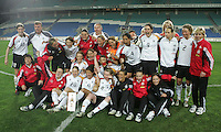 MAR 15, 2006: Faro, Portugal:  Germany celebrates after defeating the USWNT in the finals of the Algarve Cup in Faro, Portugal.