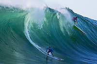 Half Moon Bay - Ca, Sunday, January 20, 2013: Greg Long and Mark Healey compete during the 2013 Mavericks Invitational..