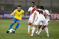 13th October 2020; National Stadium of Peru, Lima, Peru; FIFA World Cup 2022 qualifying; Peru versus Brazil;  Jefferson Farfán of Peru watches as  Neymar of Brazil takes on the Peru defense