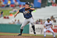 Mississippi Braves starting pitcher Jason Hursh #8 delivers a pitch during a game against the Tennessee Smokies at Smokies Park on July 21, 2014 in Kodak, Tennessee. The Braves defeated the Smokies 4-3. (Tony Farlow/Four Seam Images)