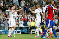 James, Cristiano Ronaldo and Benzema of Real Madrid during the Champions League group B soccer match between Real Madrid and FC Basel 1893 at Santiago Bernabeu Stadium in Madrid, Spain. September 16, 2014. (ALTERPHOTOS/Caro Marin) /NortePhoto.com