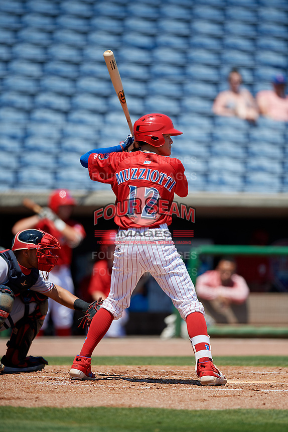 Clearwater Threshers Simon Muzziotti (12) during a Florida State League game against the Florida Fire Frogs on April 24, 2019 at Spectrum Field in Clearwater, Florida.  Clearwater defeated Florida 13-1.  (Mike Janes/Four Seam Images)