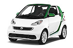 2013 Smart FOR TWO Electric Drive 2 Door Convertible Angular Front stock photos of front three quarter view
