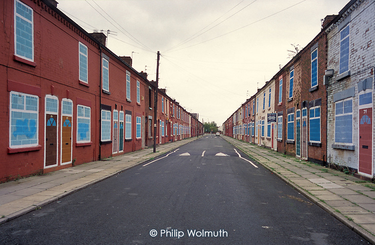Terraced street of empty houses belonging to Riverside Housing Association in Liverpool 8.  The city council plans to demolish 6000 properties suffering from low demand.