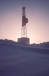 Alaska, Arctic Oil Drilling Rig, 1978, Prudhoe Bay oilfields, ARCO, Parker Drilling Company, Spring sunrise,