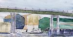 Seattle, Ballard Bridge, watercolor and pencil, Journal Art 2010,