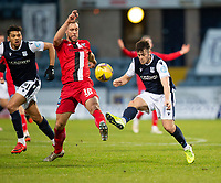 19th December 2020; Dens Park, Dundee, Scotland; Scottish Championship Football, Dundee FC versus Dunfermline; Danny Mullen of Dundee challenges for the ball with Steven Whittaker of Dunfermline Athletic