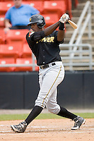 Calvin Anderson #46 of the West Virginia Power takes his swings at L.P. Frans Stadium June 21, 2009 in Hickory, North Carolina. (Photo by Brian Westerholt / Four Seam Images)