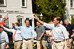 NEWTOWN, CT-1 September 2014-090114EC02--   Governor Dannel Malloy walks in the Newtown Labor Day Parade Monday morning next to Senator Richard Blumenthal. Erin Covey Republican-American