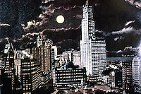 New York City: Woolworth Building at night, early postcard, 1915. The facade was evidently floodlit. AMERICAN HERITAGE, FEB. 1977.  Reference only.