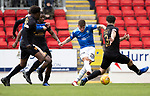 St Johnstone v Livingston….04.05.19      McDiarmid Park        SPFL<br />Ross Callachan shoots straight at keeper Ross Stewart<br />Picture by Graeme Hart. <br />Copyright Perthshire Picture Agency<br />Tel: 01738 623350  Mobile: 07990 594431
