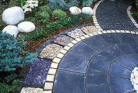 Bluestone paver patio with white stone pavers, with various stone mulch ornamentation 37714