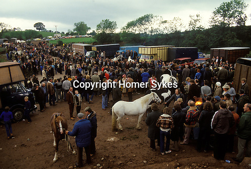 Appleby-in-Westmorland, Cumbria. 1980's<br /> Dealers and gypsies gather to buy and sell horses at the annual Appleby Horse Fair. The best get sold on to horse loving families while many of the rest make their way to Europe and in particular France as viande chevaline which is a significant part of their culinary tradition.<br /> <br /> ( Up to 100,000 horse pa go to Europe for human consumption )