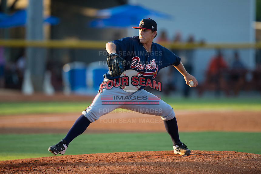 Danville Braves starting pitcher Trevor Belicek (38) in action against the Burlington Royals at Burlington Athletic Park on August 13, 2015 in Burlington, North Carolina.  The Braves defeated the Royals 6-3. (Brian Westerholt/Four Seam Images)